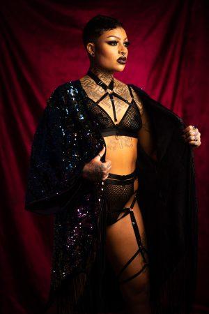 Dark Mermaid/ Phoenix Sequin and Black Velvet Kimono with Long Black Tassel