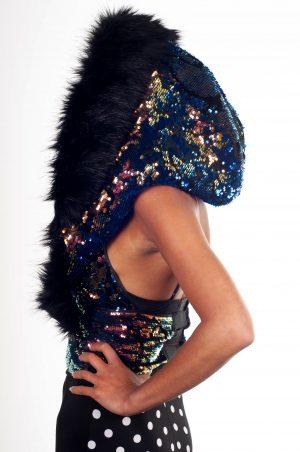 Iridescent Dark Mermaid Sequin with Super Luxury Long Black Faux Fur Hood