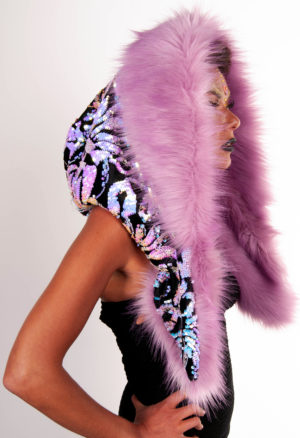 Velvet Unicorn with Long Pale Lilac Faux Fur