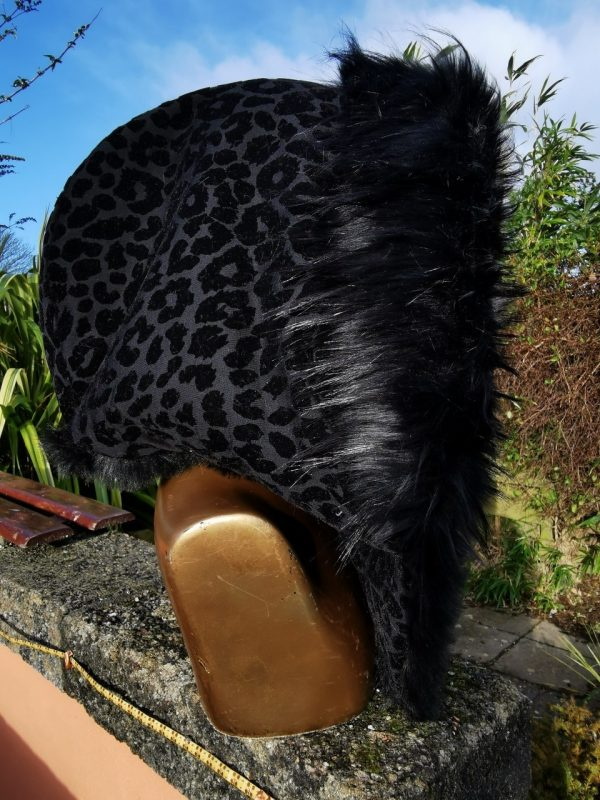 Black Leopard Hood with Supersoft short Black and Super Luxe Long Black Faux Fur