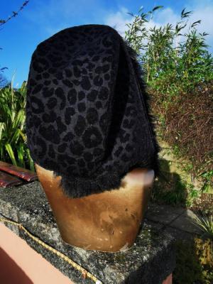 Black Leopard Hood with Black Faux Fur