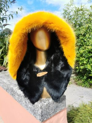 Floral Jersey Hood with Supersoft Black and Super Luxe Yellow Faux Fur Fabric