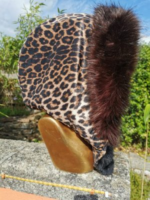 Leopard Print Velvet Hood with Supersoft Black and Super Luxe Chocolate Brown Faux Fur