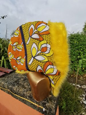 Yellow and Brown African Hood with Luxe Yellow Plush Faux Fur