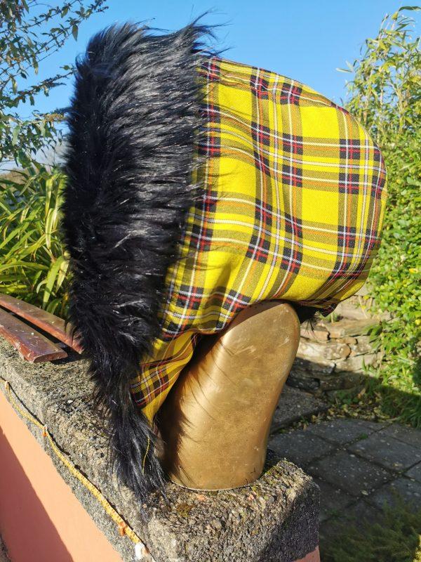 Yellow Tartan Hood with Super Luxury Long Black Faux Fur