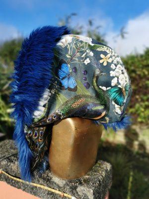 Peacock Velvet Hood with Super Luxe Long Lapiz Blue Faux Fur