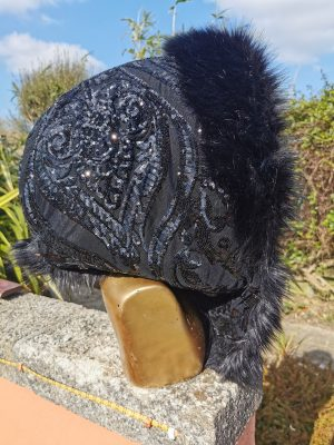 Black Embrodiered Sequin Hood with Superior Long Black Faux Fur