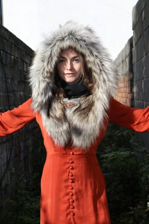 Scottish Wool Tweed Hood with Super Luxe Husky Coloured Faux Fur