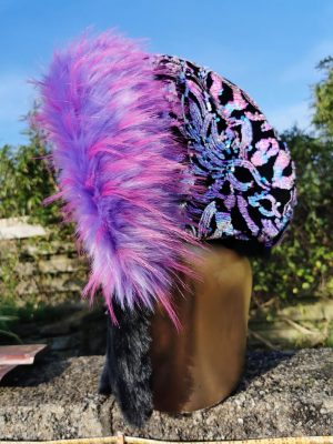 Iridescent sequin velvet Hood with Black and Purple Fleck Faux Fur