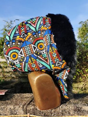African Kente Fabric Hood with Supersoft Black Faux Fur