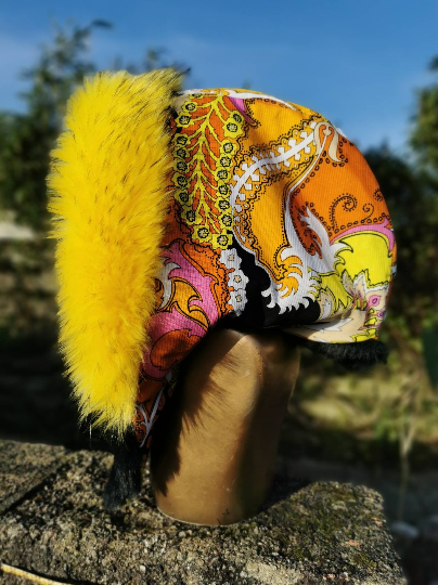 Yellow Vintage Hood with Supersoft Black and Superior Yellow Faux Fur